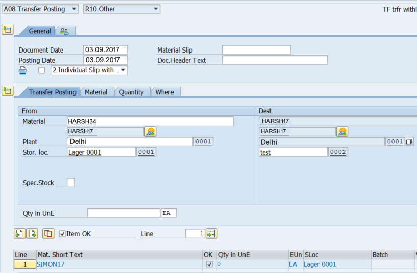 migo transfer posting link to from tab in sap mm