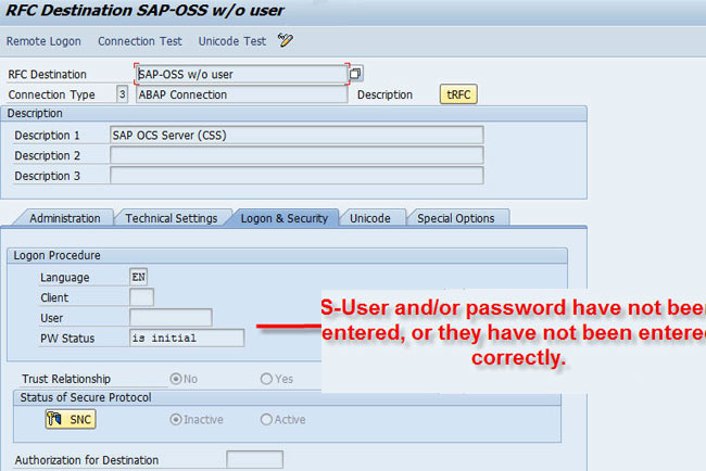 SAP OSS_RFC Password or Username is Incorrect in SAP ABAP